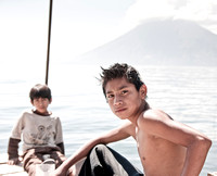 Boys fishing. Lake Atitlan Guatemala 2010